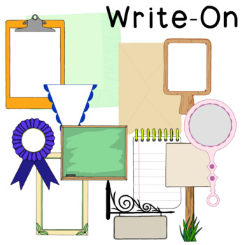 Write On Clip Art PNG JPG Badge Commercial Personal Blackline Notepad, Sign