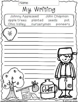 Write On! Hello Writing: A Fun Seasonal Sheet {Johnny Appleseed Freebie}