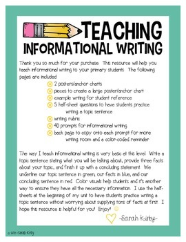Write On! Informational Writing for the Primary Student