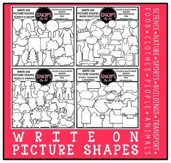 Write On Picture Shapes Clip Art Bundle {Educlips Clipart}