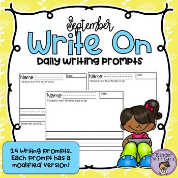 Write On - September Edition - Modified Daily Writing Prompts
