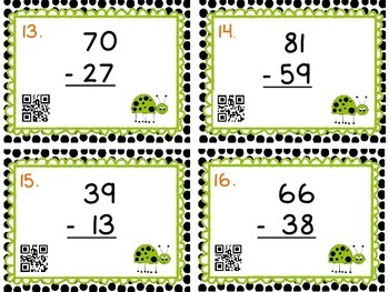 Write-On Subtraction Task Cards with QR Codes