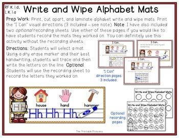 Alphabet Handwriting Mats {Write and Wipe}