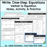 Write One Step Equations from Word Problems Notes Activity Power Point