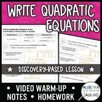 Writing Quadratic Equations Lesson