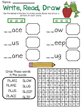 Write, Read, Draw- Words with Intial Blends