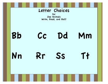 Write, Read and Roll #1: Zoo Animals Beginning Letter Sounds