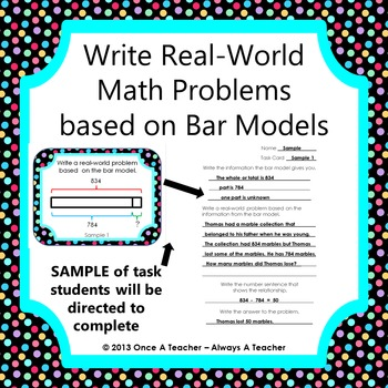 write real world math problems based on bar models task cards tpt. Black Bedroom Furniture Sets. Home Design Ideas