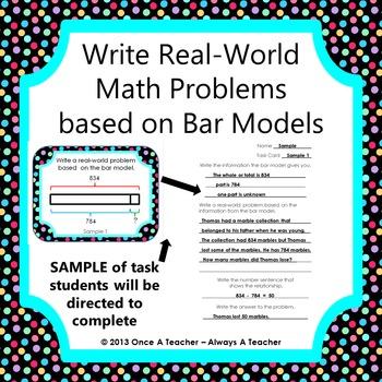Write Real-World Math Problems based on Bar Models - Task Cards