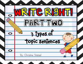 Write Right! Part Two: 3 Types of Topic Sentences {Common Core}