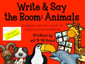 Write & Say the Room: Animals and Biomes/Habitats