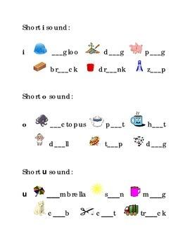 Write Short Vowels a e i o u  Kindergarten Fill in the Bla