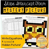 Write Slope Intercept Equations Mystery Picture Coloring Worksheet