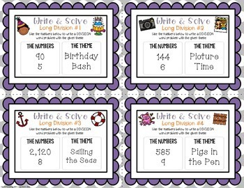 Write & Solve Long Division Task Cards for Enrichment & Critical Thinking