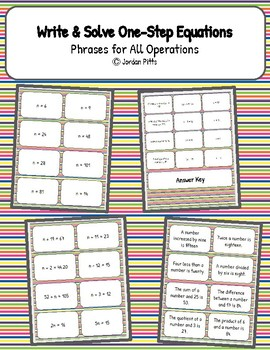 Write & Solve One-Step Equations from Phrases Matching