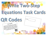 Write & Solve Two-Step Equations Task Cards & QR codes