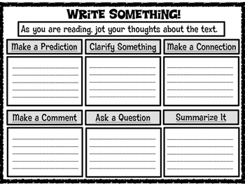 Write Something! Sentence Starters and Graphic Organizer for Text Discussions