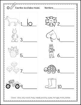 Write Syllables by Vowel Groups - Escribe Sílabas por Grupos de las Vocales