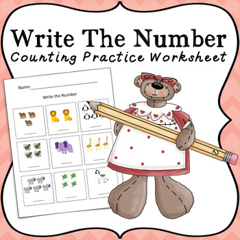Write The Number Worksheet For Counting Practice By Miss Vanessa