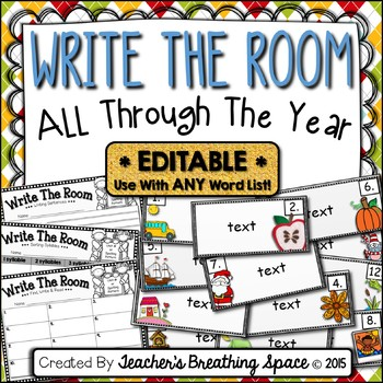 EDITABLE Write The Room All Year --- Monthly Write The Room for Any Word List