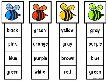 Write The Room & Color Clip Cards Bees