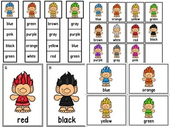 Write The Room & Color Clip Cards  Trolls