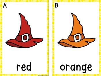 Write The Room Colors and Color Clip Cards (Witch Hats)