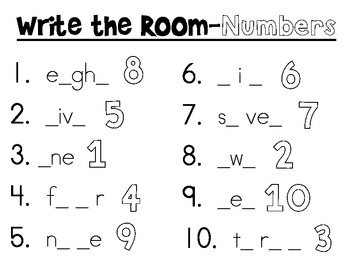 Write The Room - Fill In the Blank {Shapes, Colors, Numbers}