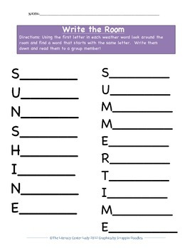Write The Room Literacy Center Weather Words