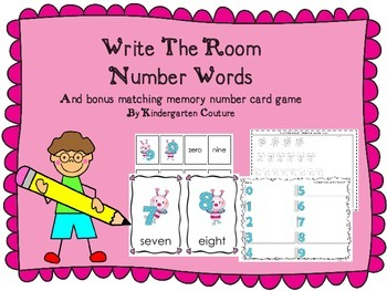 Write The Room Number Words -Bugs and matching memory game