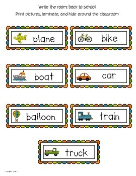 Write The Room Reading: Transportation Theme