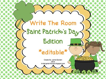 St Patrick's Day Edition - Write The Room -  *editable*