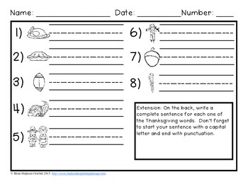 Write The Room Thanksgiving Beginning Sounds