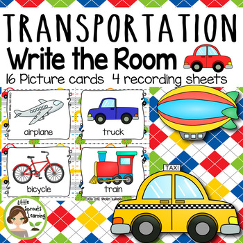 Transportation Write The Room - 16 cards (four versions, four recording sheets)