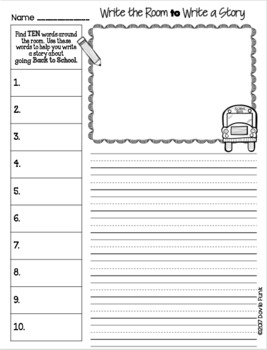Write The Room to Write A Story - Back to School Writing Activity