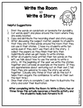 Write The Room to Write A Story - Valentine's Day Writing