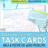 Area and Perimeter Word Problem Solving Task Cards for Thi
