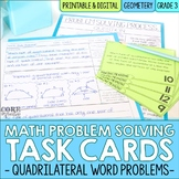 Math Problem Solving Task Cards: Quadrilateral Word Problems