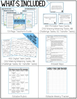 Third Grade Math Problem Solving Task Cards Year Long BUNDLE
