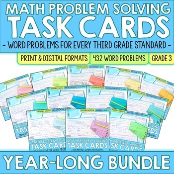 Third Grade Math | Word Problem Solving Task Cards | Year Long BUNDLE