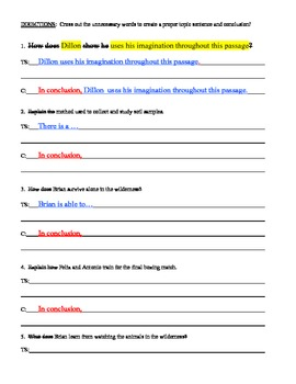 Write Topic Sentences & Conclusions - Common Core - Middle School