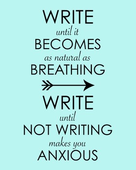 Write Until It Becomes As Natural As Breathing... 8 x 10 Classroom Poster