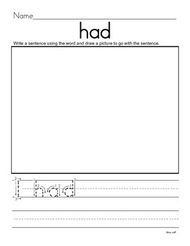 Write Using the Sight Word (30 Sight Word Worksheets)
