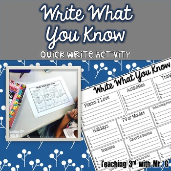 Write  What You Know- A Quick Write Activity for Writer's Workshop