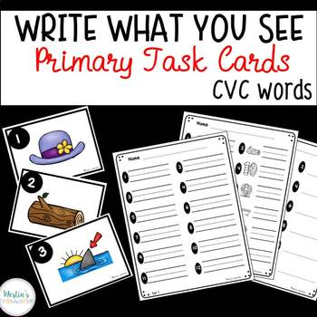Write What You See Primary Task Cards - CVC words