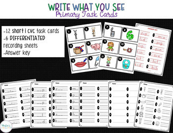 Write What You See Primary Task Cards - SHORT VOWEL BUNDLE!