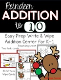 Write & Wipe Addition to 10--Reindeer Themed Addition Cent