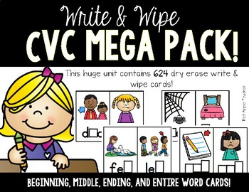 Write & Wipe--CVC Mega Pack (Beginning, Middle, Ending, and Whole Word!)