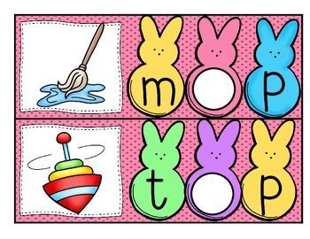 Write & Wipe--CVC Vowels With My Peeps Literacy Center for K-2