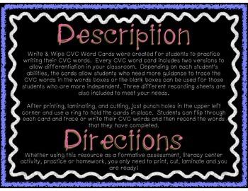 Write & Wipe - CVC Word Cards